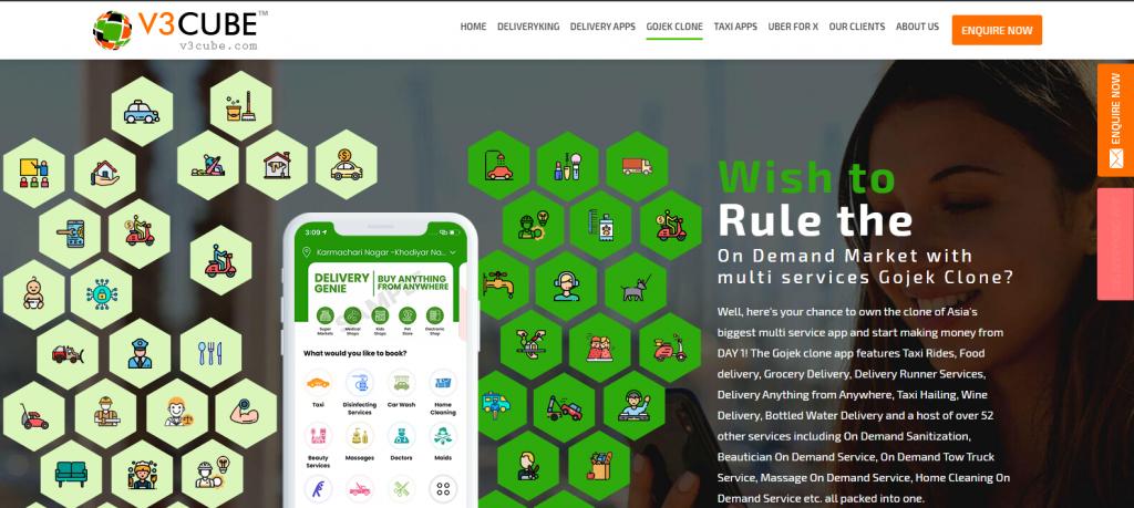 V3 Cube Gojek Clone Page