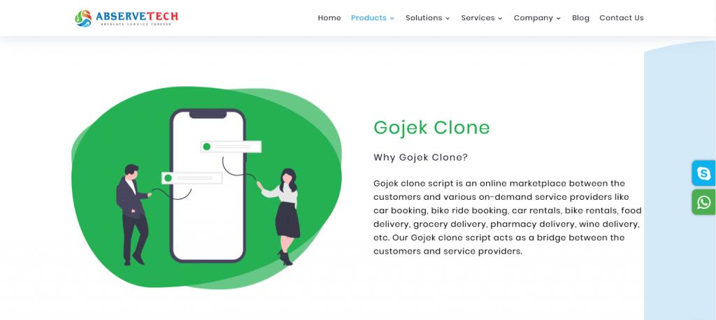 Abservetech Gojek Clone Page
